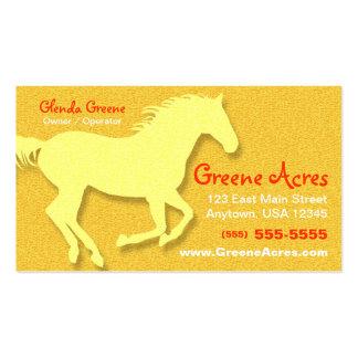 Tarjeta de visita del caballo - amarillo
