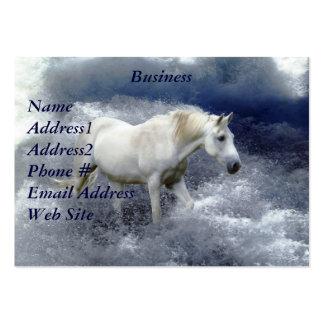 Tarjeta de visita del caballo blanco de la fantasí