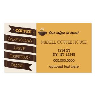 Tarjeta de visita del café de la MOD con el recibo