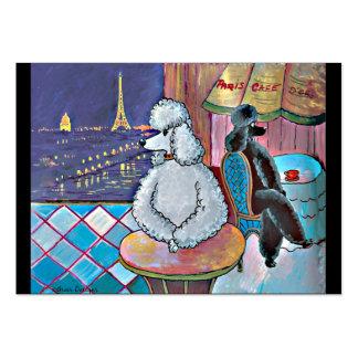 Tarjeta de visita del café de París de los caniche