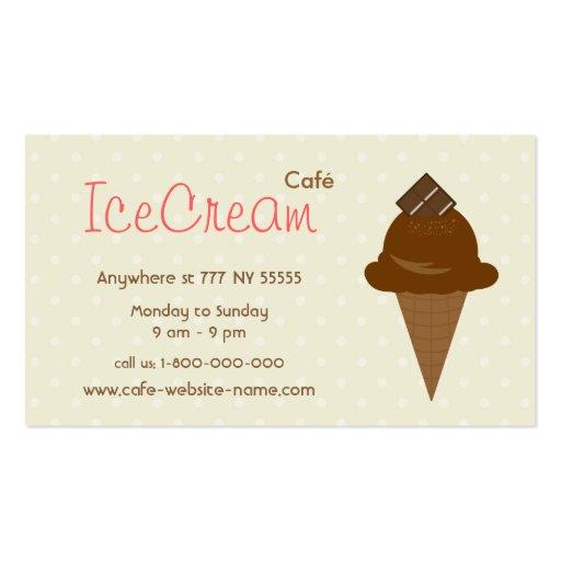 Tarjeta de visita del café del helado