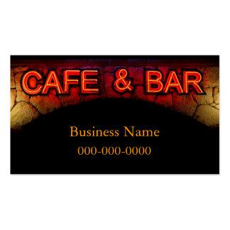 Tarjeta de visita del café y de la barra