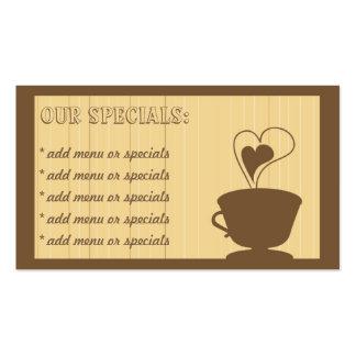 Tarjeta de visita del café y del café de las torta
