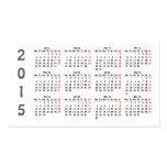 tarjeta de visita del calendario de la plantilla 2