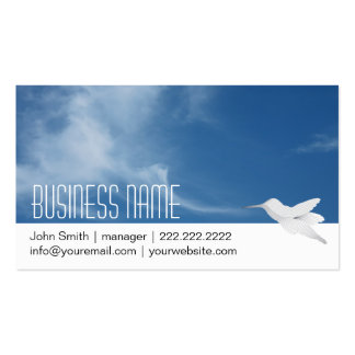 Tarjeta de visita del cielo azul y del colibrí