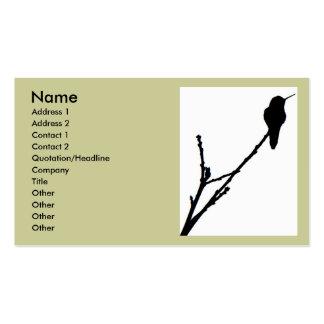 Tarjeta de visita del colibrí de Ana