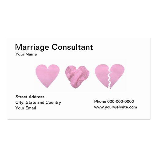 Tarjeta de visita del consultor de la boda