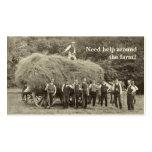 Tarjeta de visita del contratista de la granja