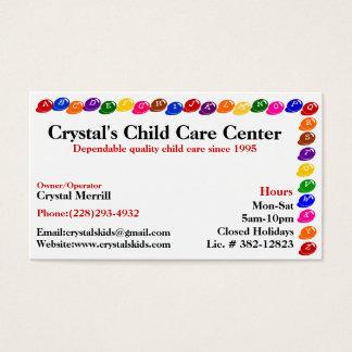 Tarjeta de visita del cuidado de niños de la
