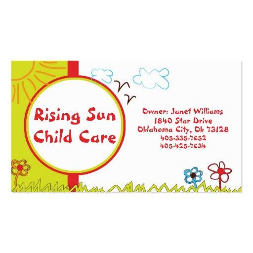 Tarjeta de visita del cuidado de niños de la sol