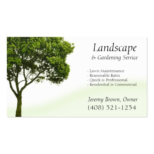 Tarjeta de visita del cuidado del árbol o del césp