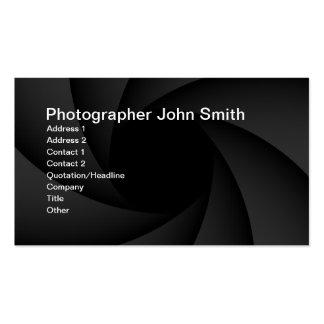 Tarjeta de visita del diafragma del fotógrafo