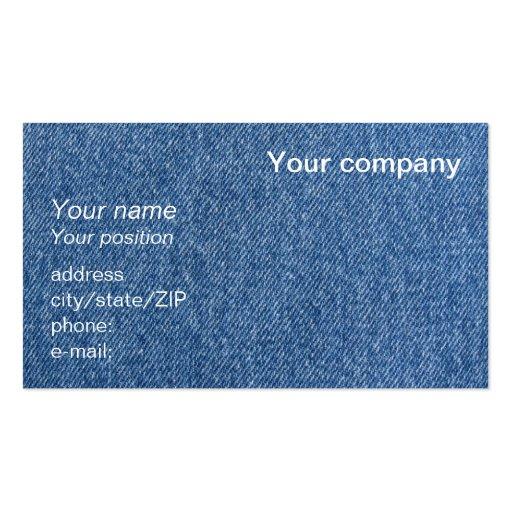 "Tarjeta de visita del ""dril de algodón azul"""