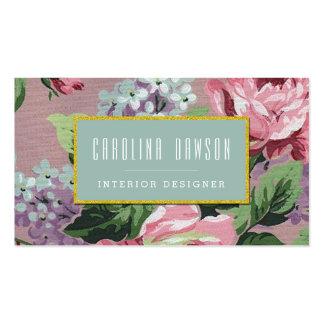 Tarjeta de visita del estampado de flores del