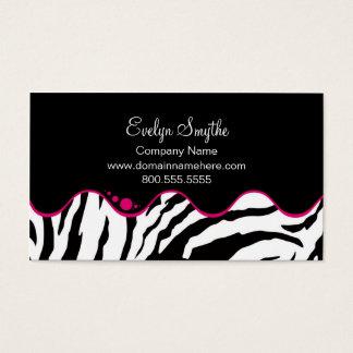 Tarjeta de visita del estampado de zebra