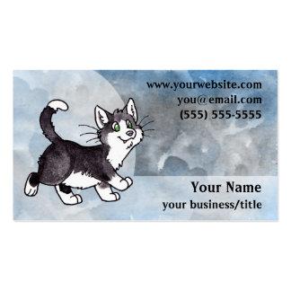 Tarjeta de visita del gato del smoking - azul y gr
