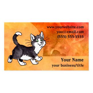 Tarjeta de visita del gato del smoking - naranja a