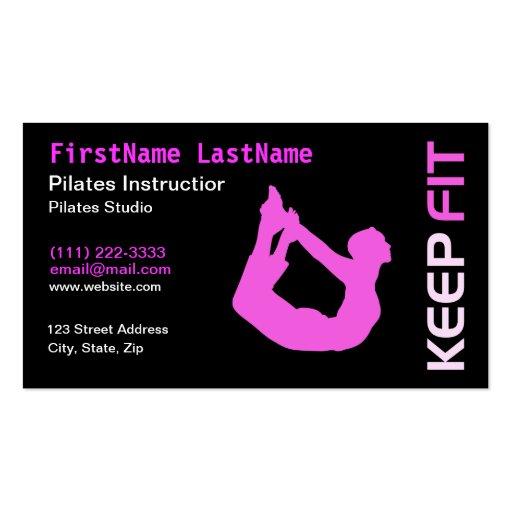 Tarjeta de visita del instructor de Pilates de la