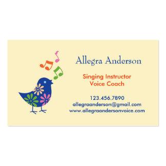 Tarjeta de visita del instructor del canto