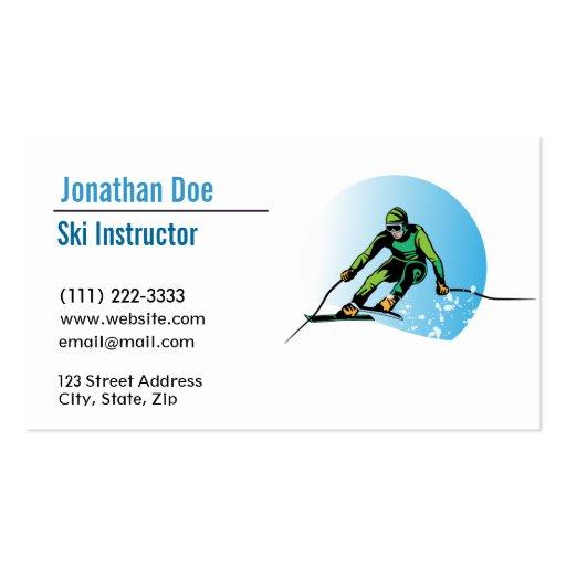 Tarjeta de visita del instructor del esquí