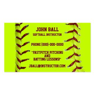 Tarjeta de visita del instructor del softball de F