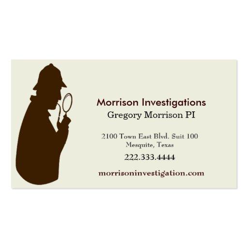Tarjeta de visita del investigador privado de Brow