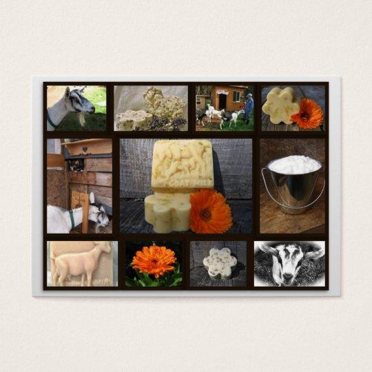 Tarjeta de visita del jabón de la cabra de la