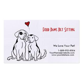 Tarjeta de visita del mascota de dos perros que se