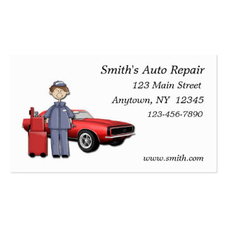 Tarjeta de visita del mecánico de automóviles