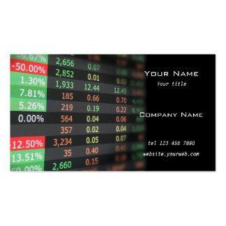 Tarjeta de visita del mercado de acción