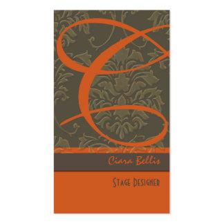 Tarjeta de visita del monograma del damasco