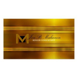 Tarjeta de visita del monograma del oro