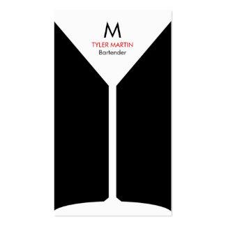 Tarjeta de visita del monograma que sirve - negro