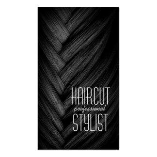 Tarjeta de visita del negro del peluquero del