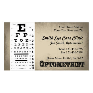 Tarjeta de visita del optometrista