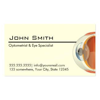 Tarjeta de visita del optometrista y del especiali