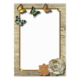 Tarjeta de visita del papel prensa de la mariposa