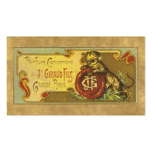 Tarjeta de visita del perfume del vintage