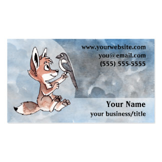 Tarjeta de visita del perrito del coyote - azul y