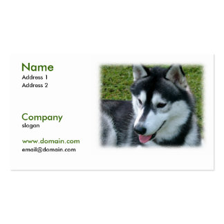 Tarjeta de visita del perro del husky siberiano
