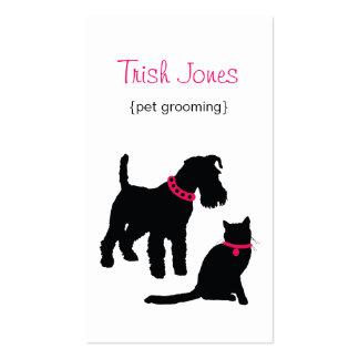 Tarjeta de visita del perro y del gato (rosa