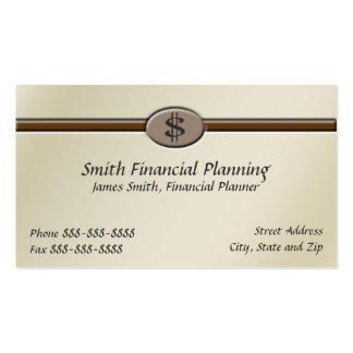 Tarjeta de visita del planificador financiero