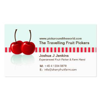 Tarjeta de visita del recogedor de la fruta del ba