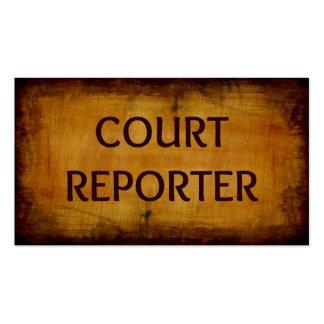 Tarjeta de visita del reportero de corte