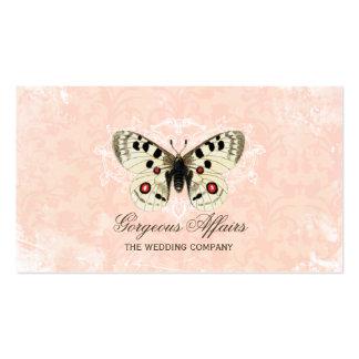 Tarjeta de visita del rosa de la mariposa del vint