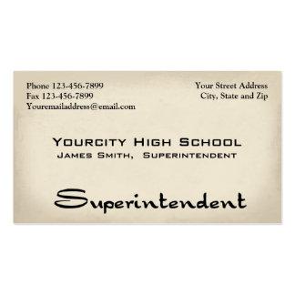 Tarjeta de visita del superintendente