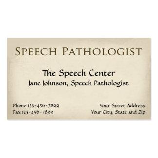 Tarjeta de visita del terapeuta del patólogo de di