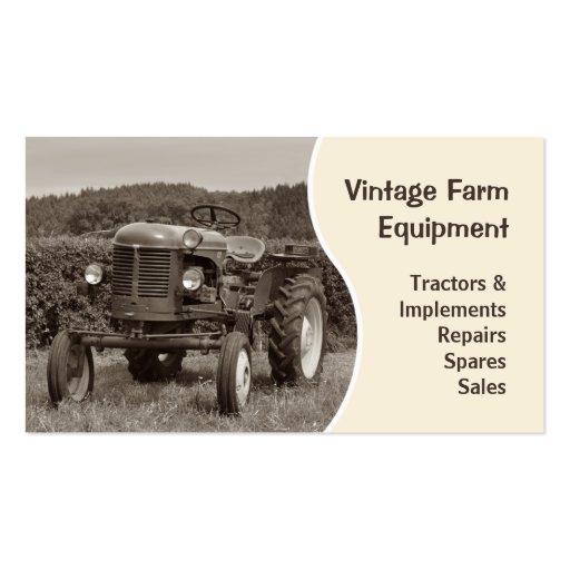 Tarjeta de visita del tractor del vintage