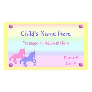 Tarjeta de visita del unicornio de los niños