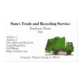 Tarjeta de visita del verde del camión de basura